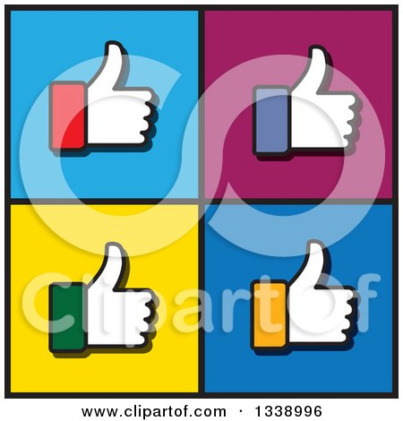 450x470 Clipart Of A Blue Cuffed Thumb Up Like App Icon Design Element