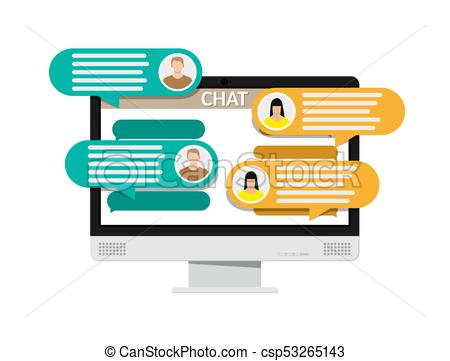 450x361 Desktop Pc With Messaging Sms App. Chat Bubbles On Monitor . Eps