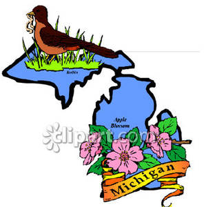 296x300 Blue State Of Michigan With State Symbols Of The Apple Blossom