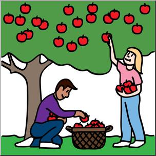 304x304 Clip Art Kids Picking Apples 01b Color I Abcteach