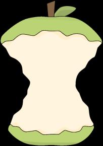 204x290 Green Apple Core Clip Art