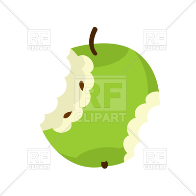 400x400 Green Apple Core Isolated Royalty Free Vector Clip Art Image