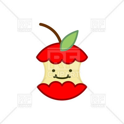 400x400 Red Apple Core Cute Cartoon Icon Royalty Free Vector Clip Art