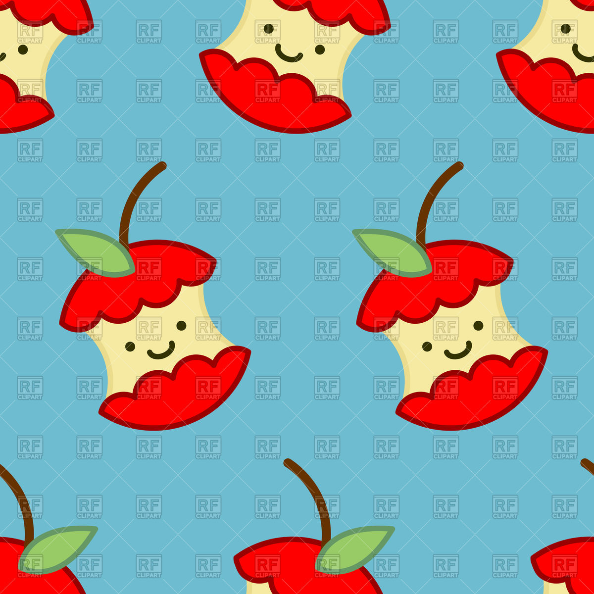 1200x1200 Red Apple Core Cute Cartoon Pattern Royalty Free Vector Clip Art