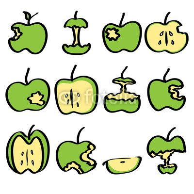 400x400 Green Bitten Apple 3d, Apple, Art, Bite, Cartoon, Clip Art, Core