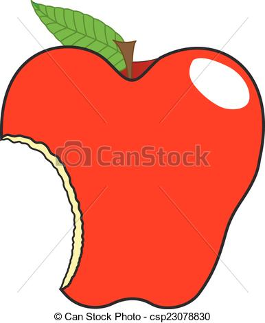 386x470 Glossy Delicious Red Eaten Apple Vector Illustration Vectors