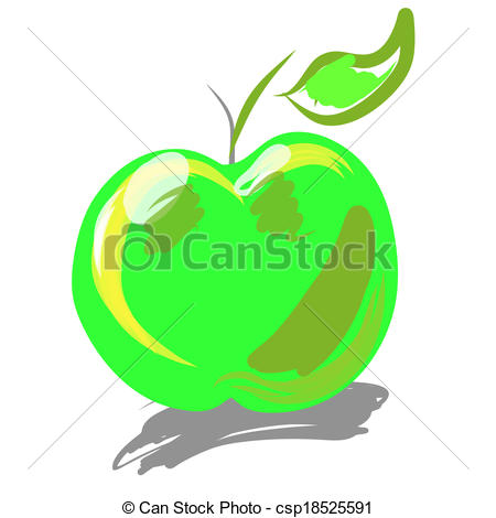 450x470 Green Apple. Hand Drawn Apple. Illustratinn Clip Art Eps Vectors