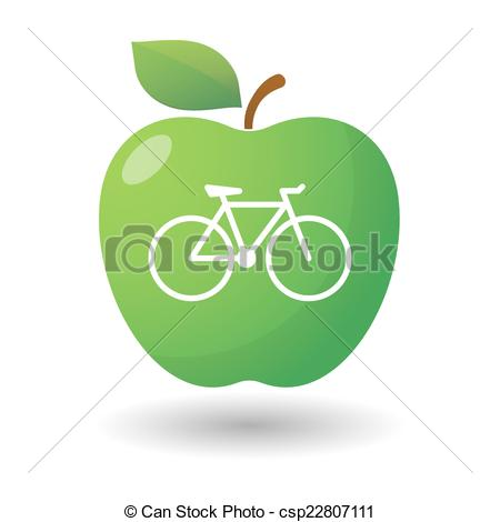 450x470 Illustration Of An Isolated Apple Icon With A Bicycle Vector Clip