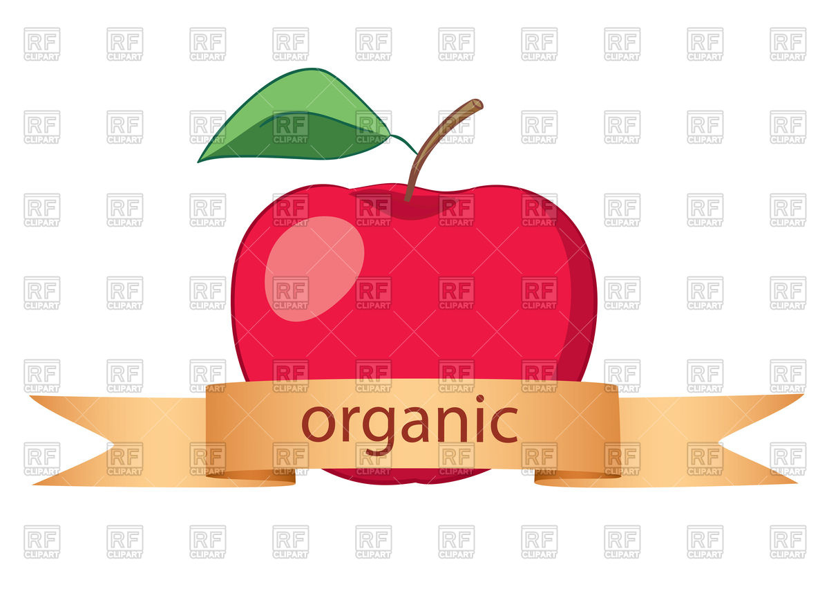 1200x852 Red Apple With Gold Ribbon Royalty Free Vector Clip Art Image