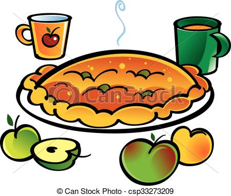 450x382 Apple Pie. Aplle Pie And Two Cups With Juice Vector Clipart