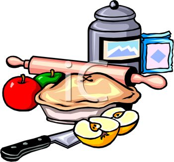 350x327 Clip Art Illustration Of Kitchen Implements And An Apple Pie