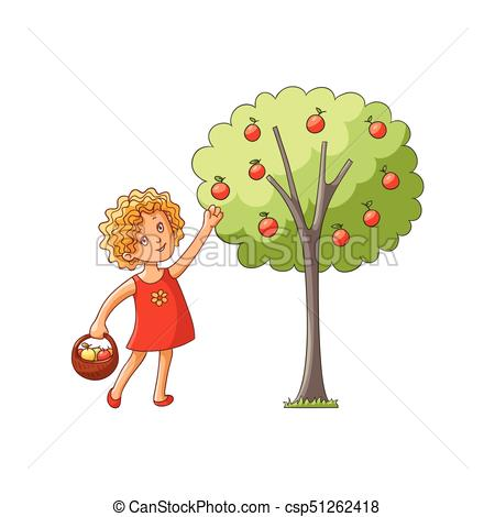 450x470 Vector Girl Collecting Apples From Apple Tree. Vector Flat