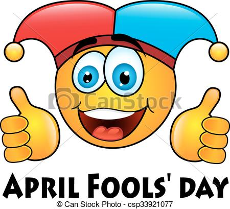 450x409 April Fools' Day. Round Yellow Emoticon In Jester Cap
