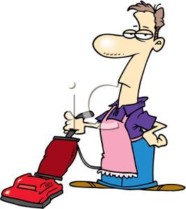 267x300 Clip Art Image A Man Wearing An Apron Pushing A Vacuum Cleaner