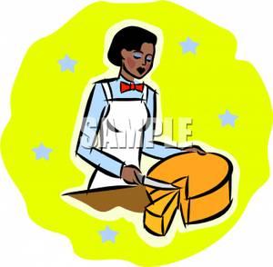 300x294 Clip Art Image A Woman In An Apron Cutting A Cheesewheel