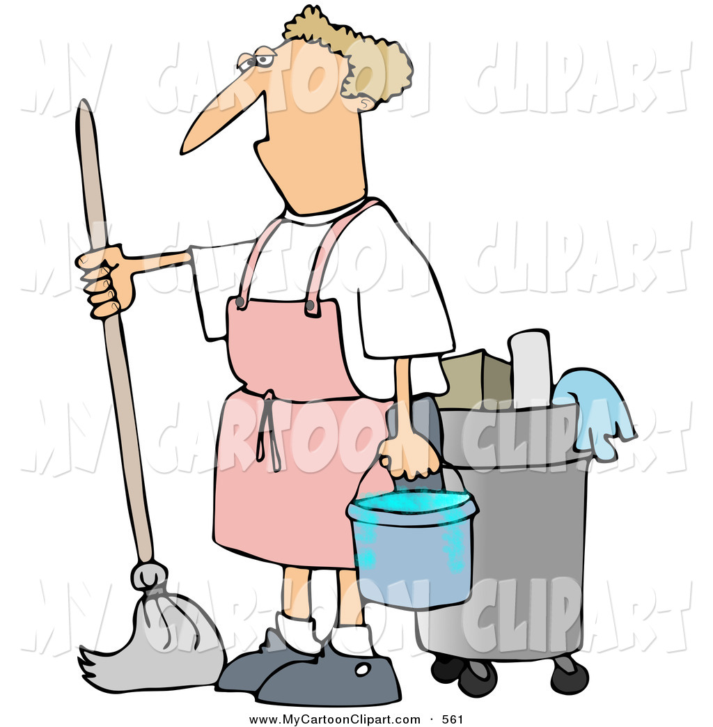 1024x1044 Clip Art Of A White Man Mopping In A Pink Apron By Djart