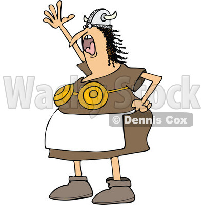 400x400 Clipart Of A Mad Shouting Viking Woman In An Apron And Bra