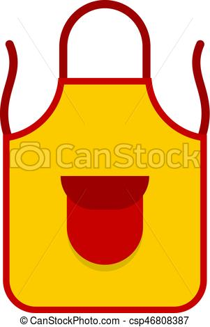 301x470 Yellow Apron With Red Pocket Icon Isolated. Yellow Apron Vector