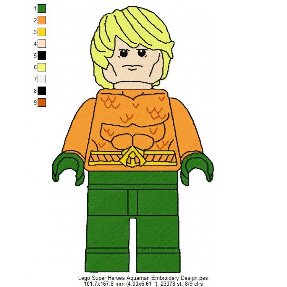 1000x1000 Lego Super Heroes Aquaman Embroidery Design
