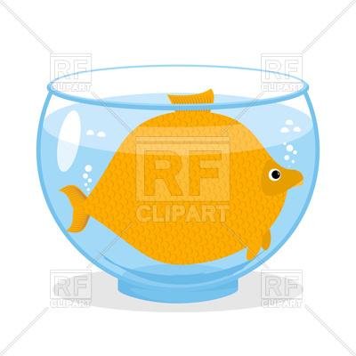 400x400 Cartoon Big Goldfish In Aquarium Royalty Free Vector Clip Art