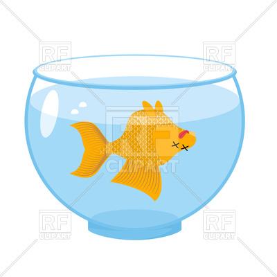 400x400 Dead Gold Fish In Aquarium Royalty Free Vector Clip Art Image
