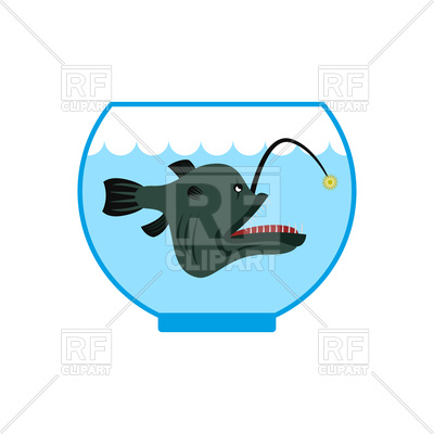 400x400 Predatory Fish In Aquarium Royalty Free Vector Clip Art Image