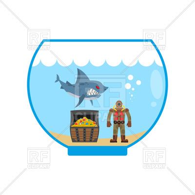 400x400 Shark, Treasure And Scuba Diver In Aquarium Royalty Free Vector