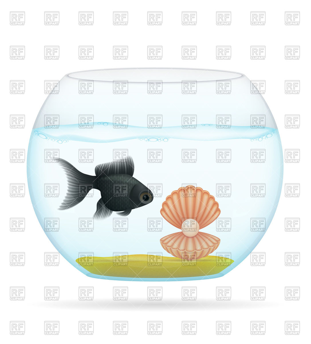 1086x1200 Fish And Shell In A Transparent Aquarium Royalty Free Vector Clip