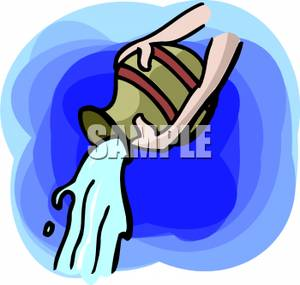 300x285 Hands Pouring Out Aquarius's Water Clip Art Image