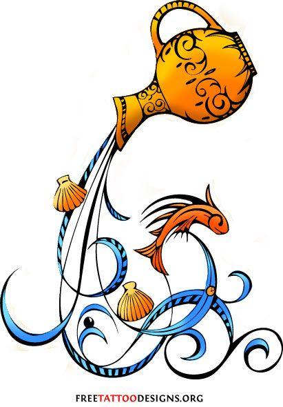 411x590 35 Cool Aquarius Tattoo Designs Aquarius Sign Tattoos Someday