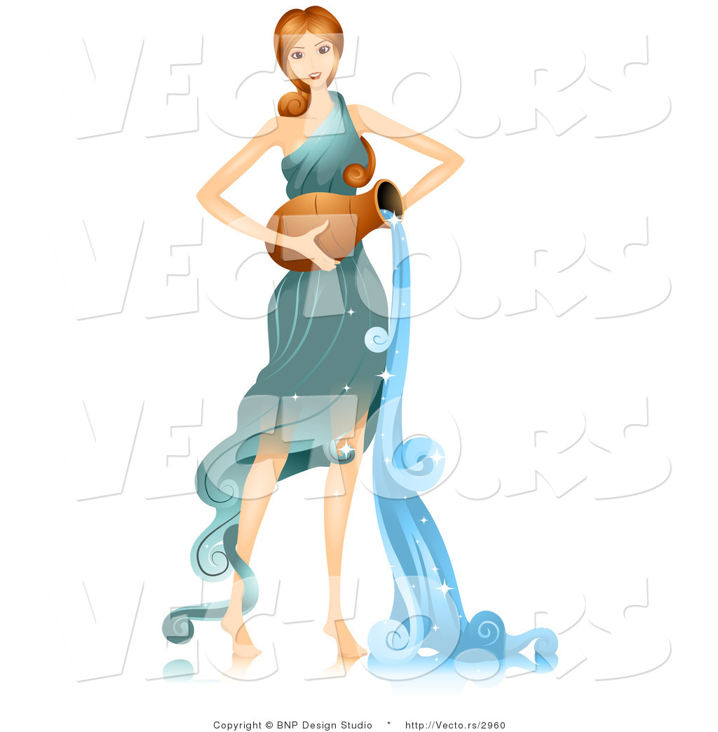 1024x1044 Vector Of Beautiful Horoscope Aquarius Girl Pouring Water By Bnp