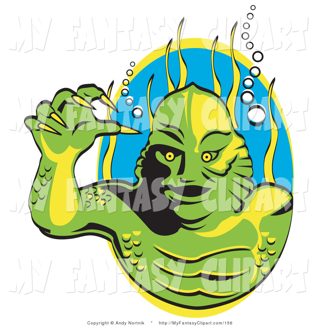 1024x1044 Clip Art Of A Green Swamp Monster With Yellow Claws And Scaly Skin