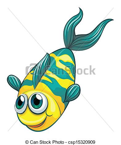 393x470 Illustration Of An Aquatic Fish On A White Background Vector
