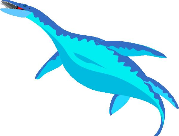 600x458 Blue Aquatic Dinosaur Clip Art