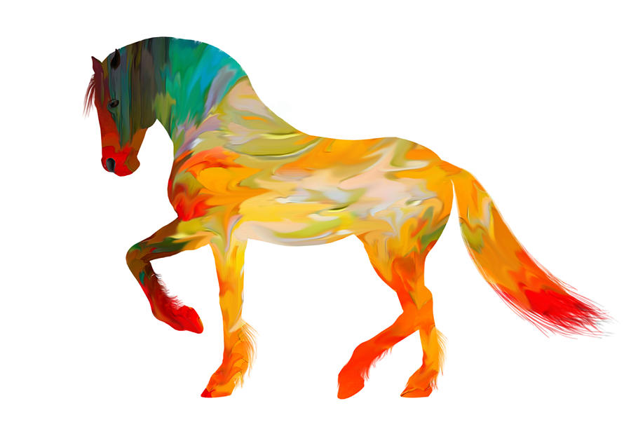 900x612 Colorful Horse Clip Art