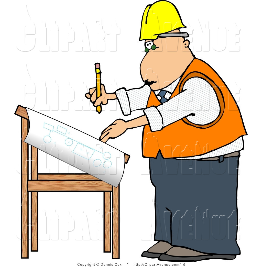 1024x1044 Avenue Clipart Of An Architect Drawing Blueprints By Djart