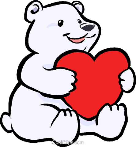 444x480 Polar Bear With A Heart Royalty Free Vector Clip Art Illustration