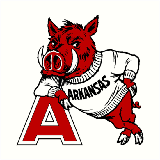 550x550 Vintage Arkansas Razorback Art Prints By Cpetigna Redbubble