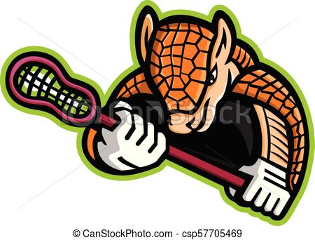 450x342 Armadillo Lacrosse Frnt Mascot. Mascot Icon Illustration