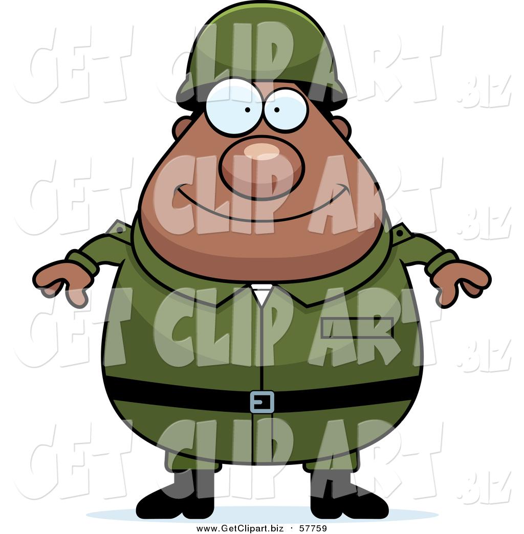 1024x1044 Clip Art of a Happy Plump Black Army Man by Cory Thoman