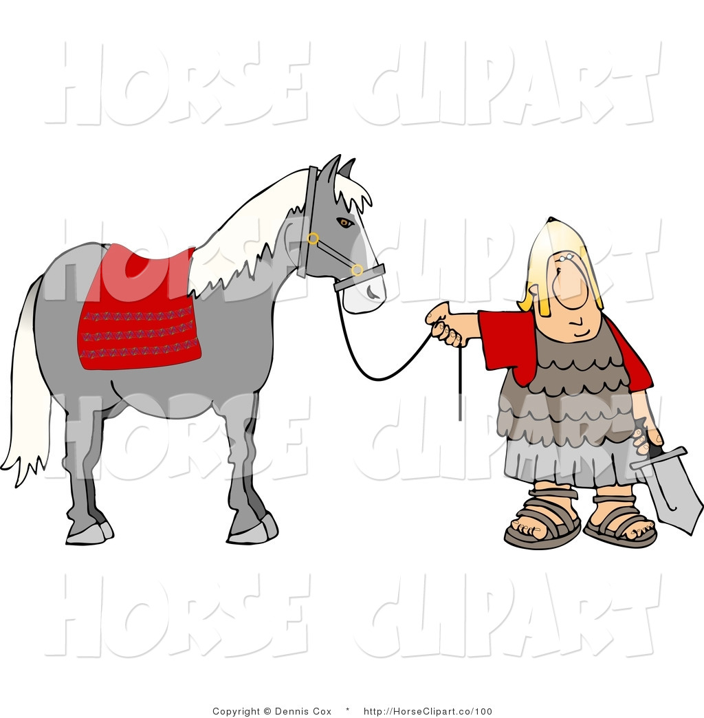 1024x1044 Clip Art of a Roman Army Soldier Standing with a Horse by the