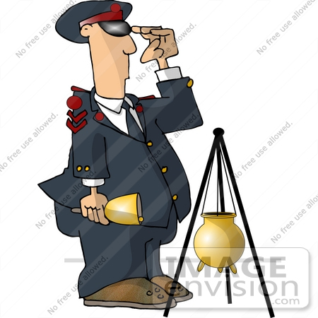 450x450 Salvation Army Volunteer Man Ringing a Bell, Standing by a