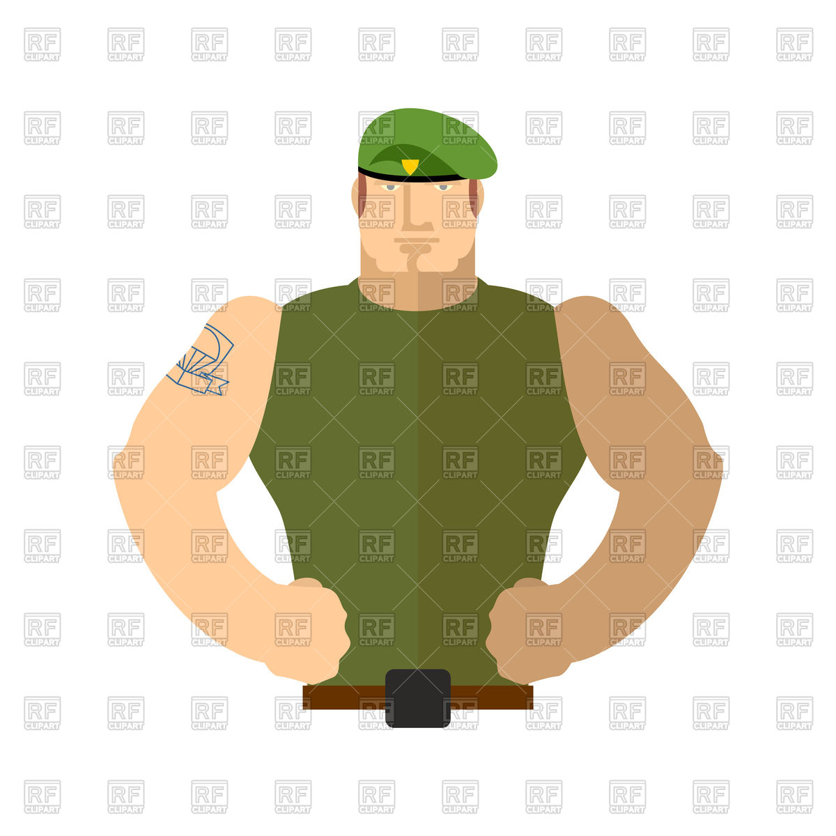 1200x1200 Soldier portrait, man in military green beret Royalty Free Vector