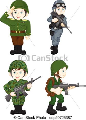 335x470 Vector illustration of army soldier boy posing.