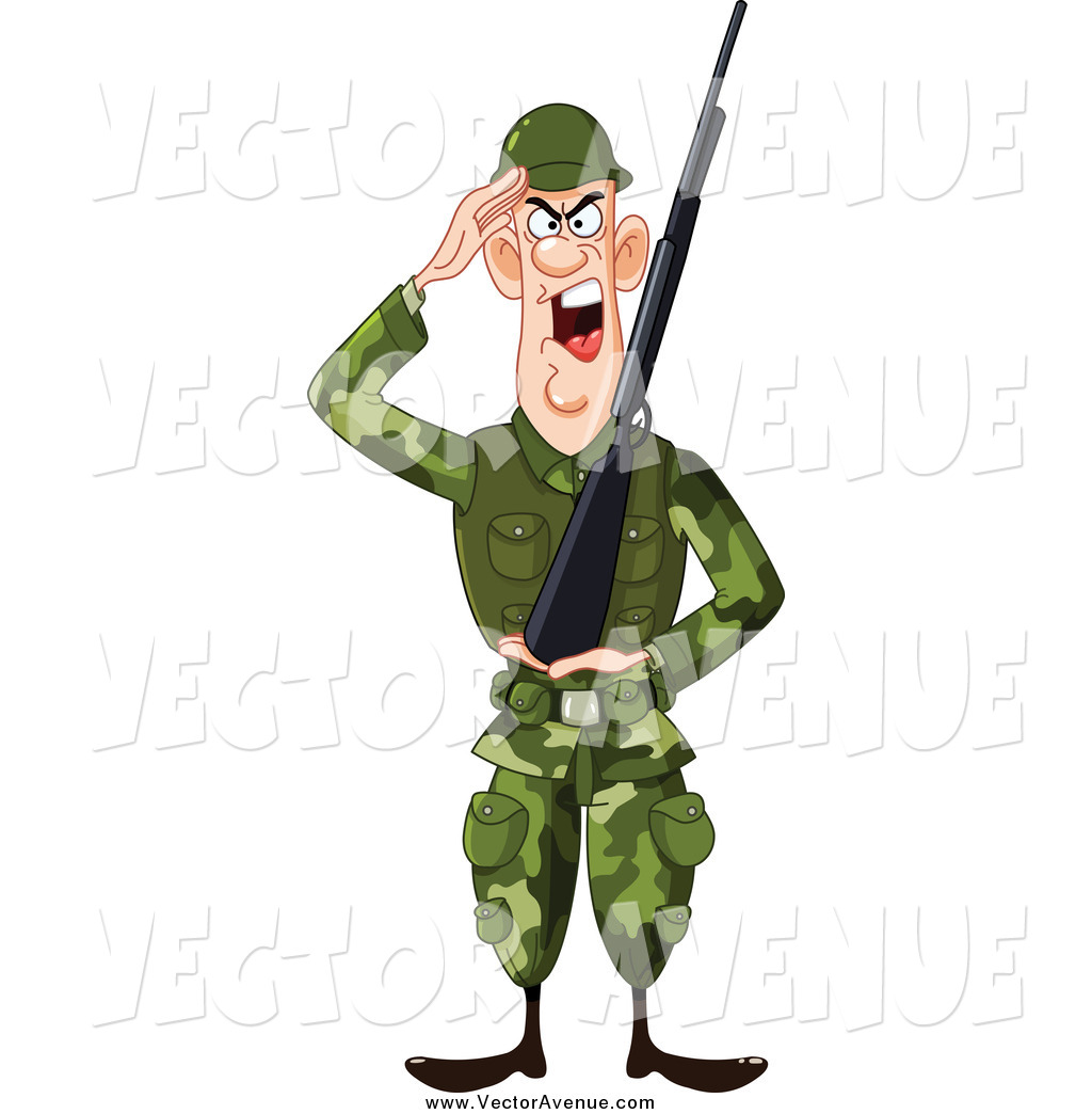 1024x1044 Vector of a Saluting Army Soldier with a Gun by yayayoyo