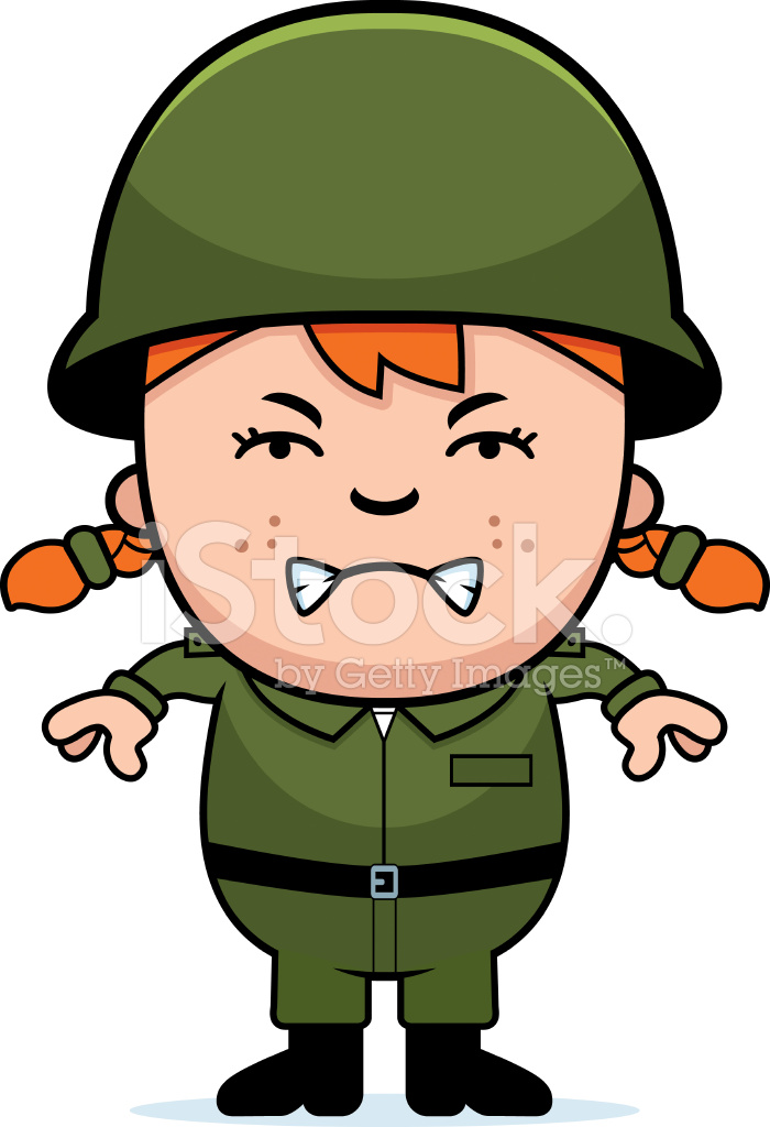 700x1024 Angry Soldier Girl Stock Vector