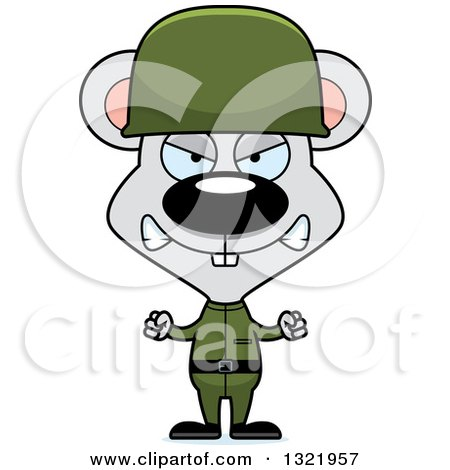 450x470 Clipart Of A Cartoon Mad Mouse Army Soldier