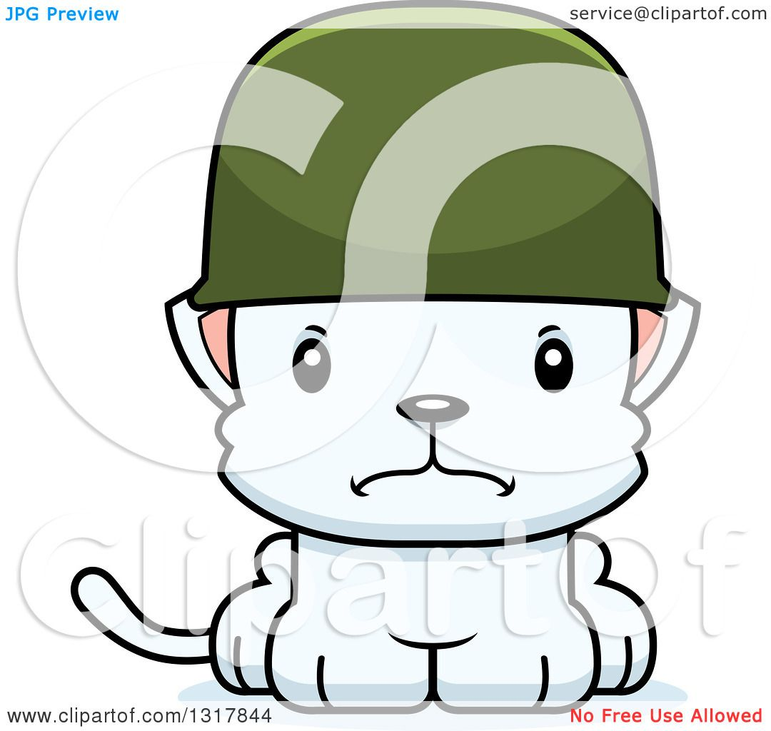 1080x1024 Animal Clipart Of A Cartoon Cute Mad White Kitten Cat Army Soldier