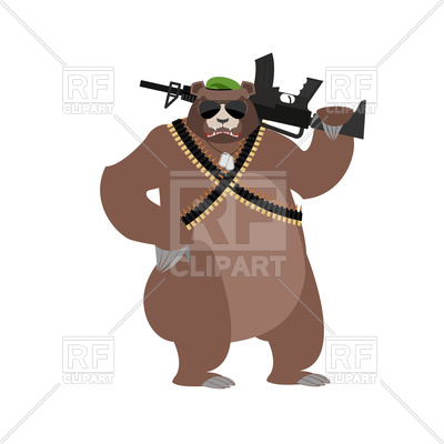 400x400 Bear Soldier. Grizzly Military. Royalty Free Vector Clip Art Image