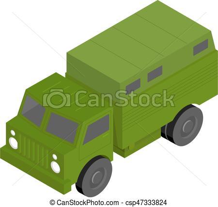 450x427 Russian (Soviet) 3d Isometric Military Truck. Green Cargo